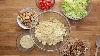 【三十分鐘上菜】高蛋白高纖不需加熱便當: 雞肉凱薩沙拉麵、烤櫛瓜|本餐熱量 522大卡