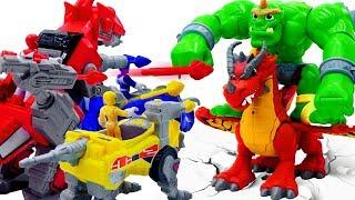 Power Rangers & Marvel Avengers Toys Pretend Play | GIANT & DRAGON Attack Zords Robot