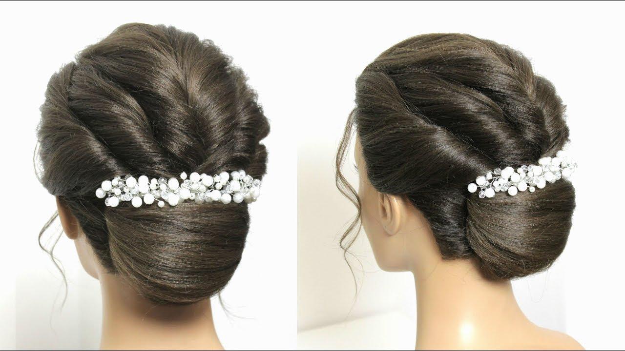 french roll bun hairstyle for long medium hair tutorial