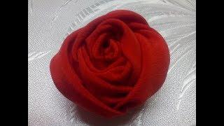 МК// Роза из ткани за 5 минут Простой способ//DIY chiffon rose,fabric rose tutorial,how to make