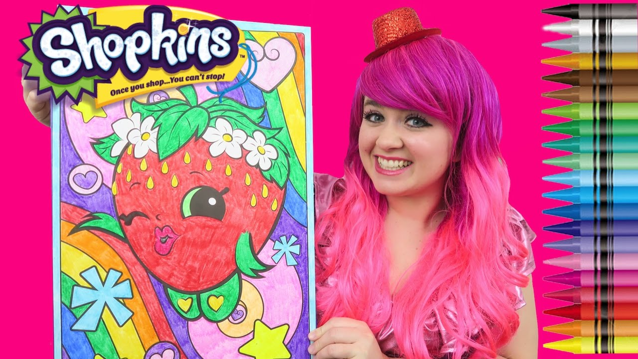 Shopkins strawberry kiss giant coloring page crayola crayons coloring with kimmi the clown youtube