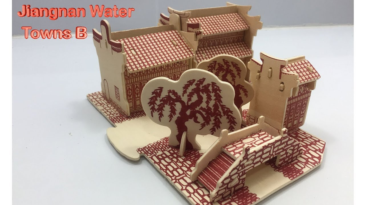 3D Woodcraft Construction Kit Jiangnan Water Towns Wooden Model Puzzles Toys