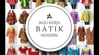model baju batik wanita kerja modern terbaru