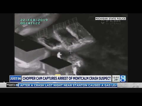 Chopper captures arrest of Montcalm Co. crash suspect