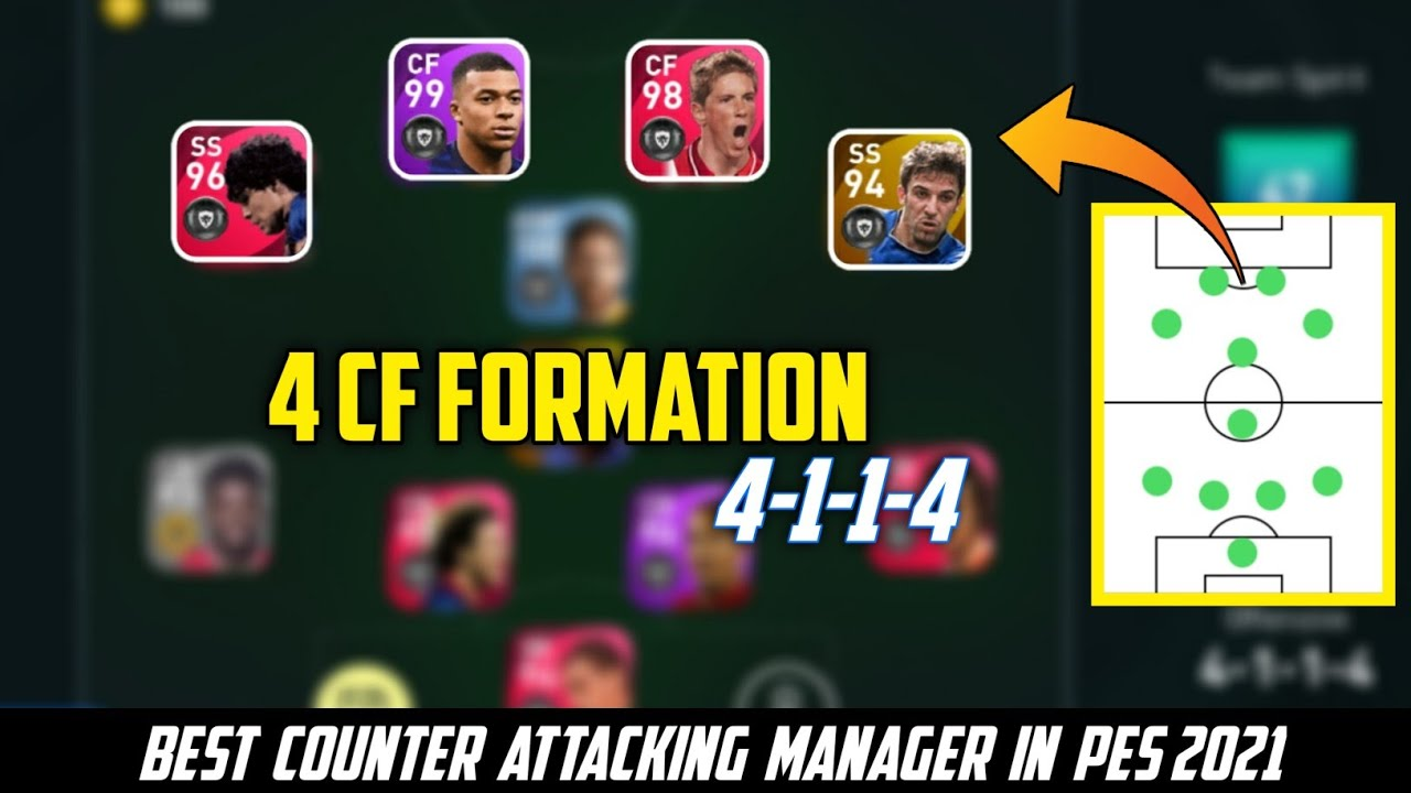 4 CF FORMATION | BEST COUNTER ATTACKING MANAGER IN PES 2021 | PES 2021 MOBILE