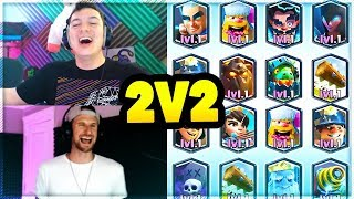 ALL LEGENDARY DECKS in 15 WIN 2v2 CHALLENGE?! Nick & Molt Clash Royale