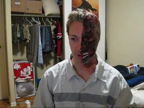 Harvey Two Face Halloween Make-up test - YouTube