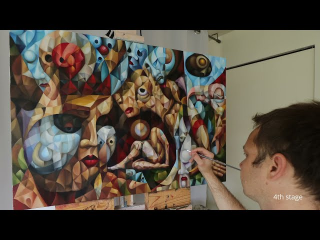 Surrealist, cubist painting flow. Making of the original artwork