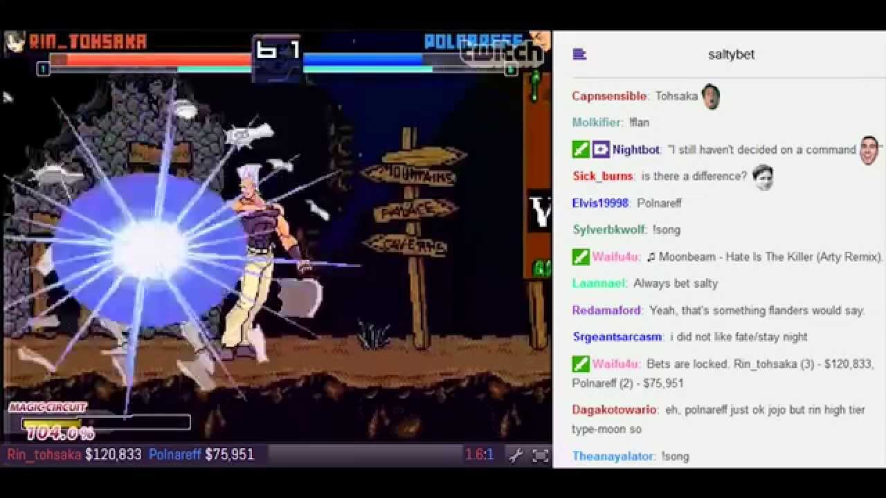 salty bet rin tohsaka vs polnareff youtube
