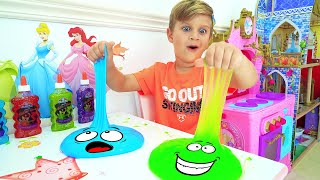 Roma and Diana are playing with slimes | Fun games with dad