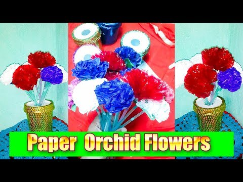 How to make Easy Paper Flowers Orchid | Use Tissue and Gift Rapper Paper Spark Creative Solutions