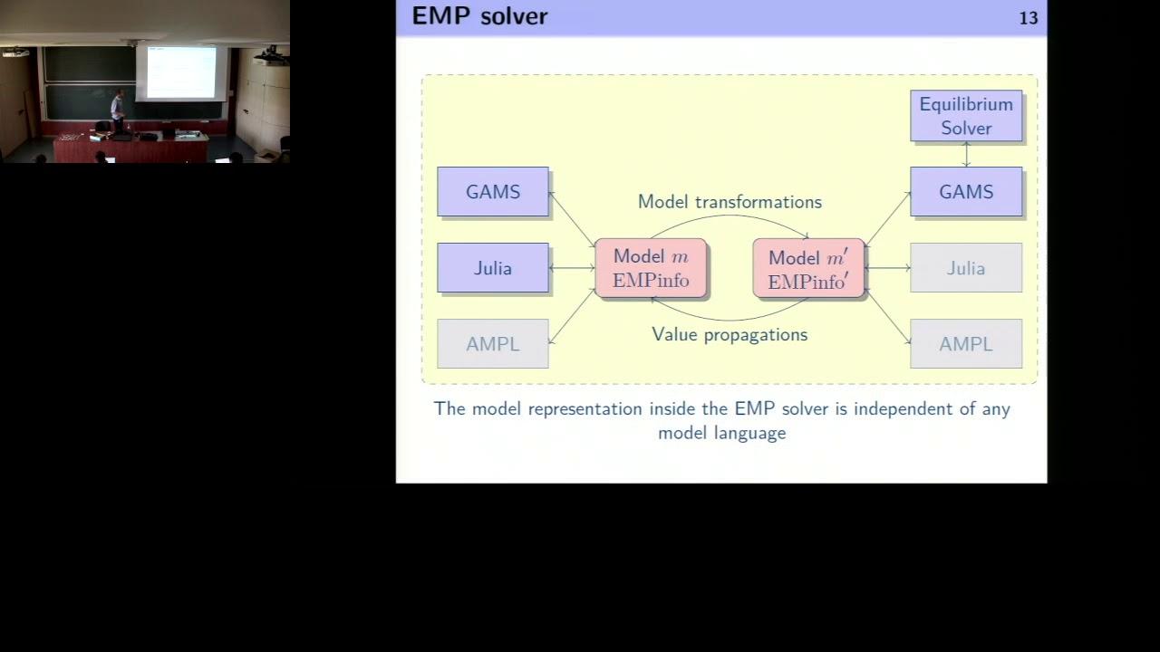 JuMP-dev 2018 | EMP jl, a package for modelling Extended Mathematical  Programming | Olivier Huber