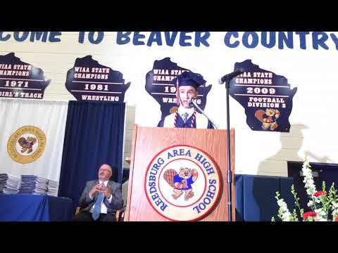 Joseph McGlynn speaks at Reedsburg Area High School Graduation