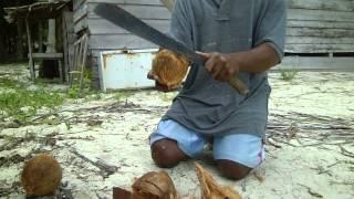 Как очистить кокос? / How to open a coconut?