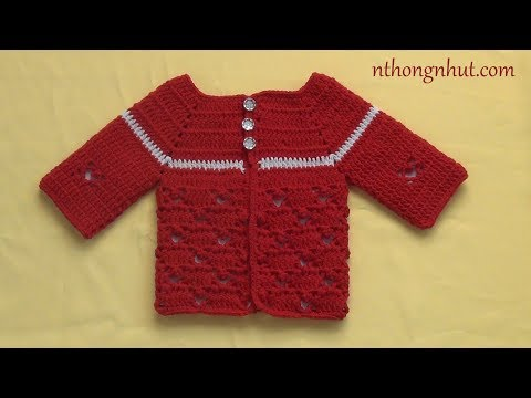 Crochet Baby Cardigan Tutorial (Eng Sub) | Móc áo ấm Len Cho Bé Hoa Văn Trái Tim