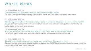 World News Headlines for 18 Oct 2018 - 6 PM Edition