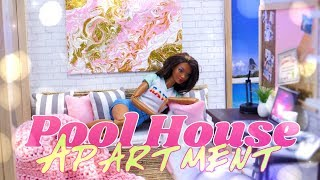 DIY - How to Make: Furnished Doll Pool House Apartment | Home Office | Kitchen & more