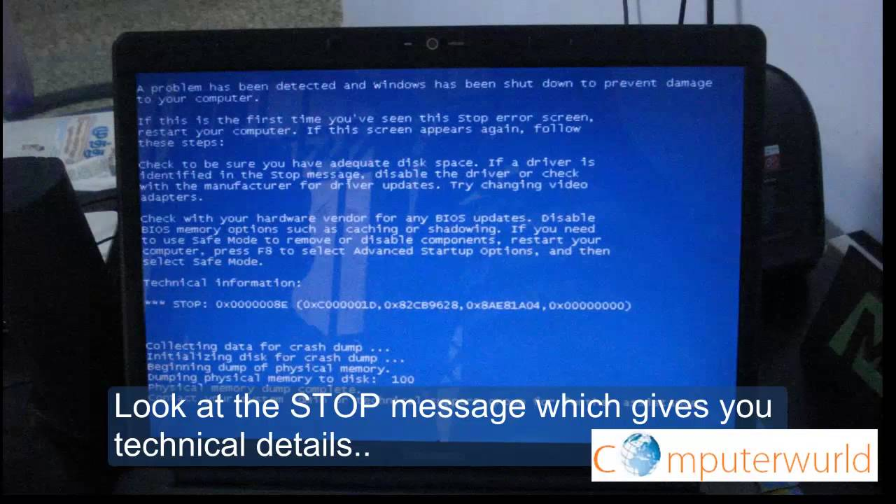Common Blue Screen Problem In Laptop Youtube