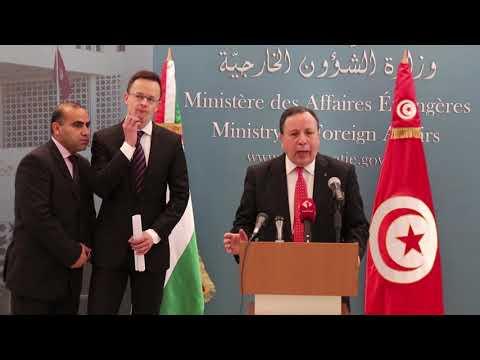 وزير الشؤون الخارجية خميّس الجهيناوي يستقبل الوزير المجري للشؤون الخارجية والتجارة