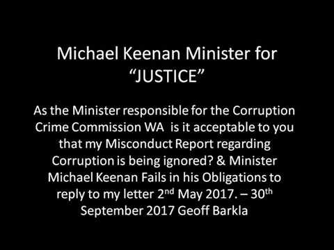Michael Keenan Minister for JUSTICE Violations of the Constitution & Laws