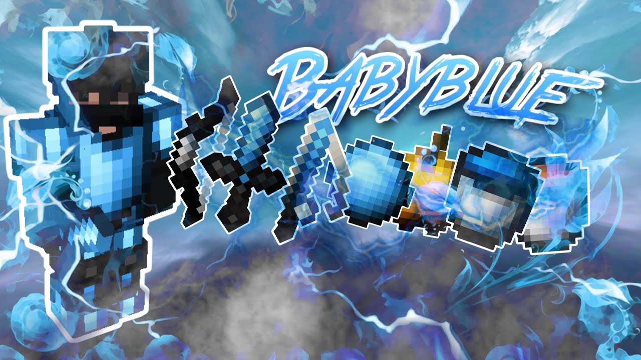 Wonder's texture pack pvp 16x16 64x64 32x32 ezeee's pvp texture pack, and if you have a problem join his discord t. MCPE best pvp Texture Pack FPS boost Baby blue 16x - YouTube