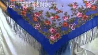 How To Tie a Posad Shawl завязывать Павловопосад платок(http://puh-platok.ru/ интернет магазин платков и шалей Красивый Павловопосадский платок шерстяной