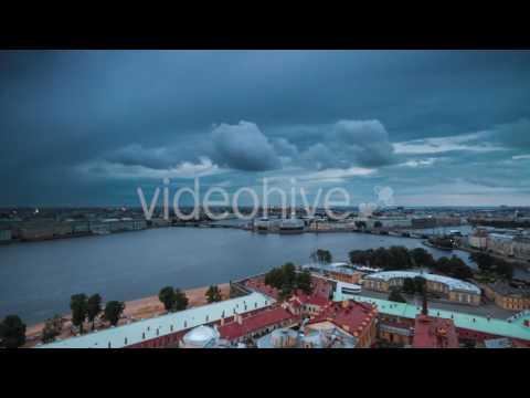 View Of St. Petersburg. Vasilyevsky Island In Night - Stock Footage | VideoHive 15204404