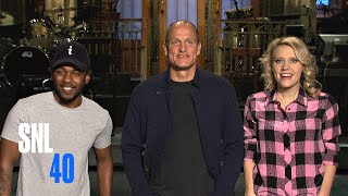 Woody Harrelson Gives Kate McKinnon and Kendrick Lamar Piggyback Rides