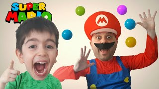 Atlas is making a funny joke on super mario in real life. Funny prank video for kids.