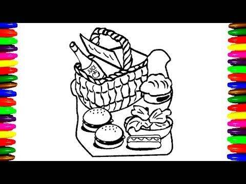 how to draw and color picnic food coloring pages for childrenkids videos learning colors