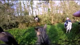 Hunting on horseback.