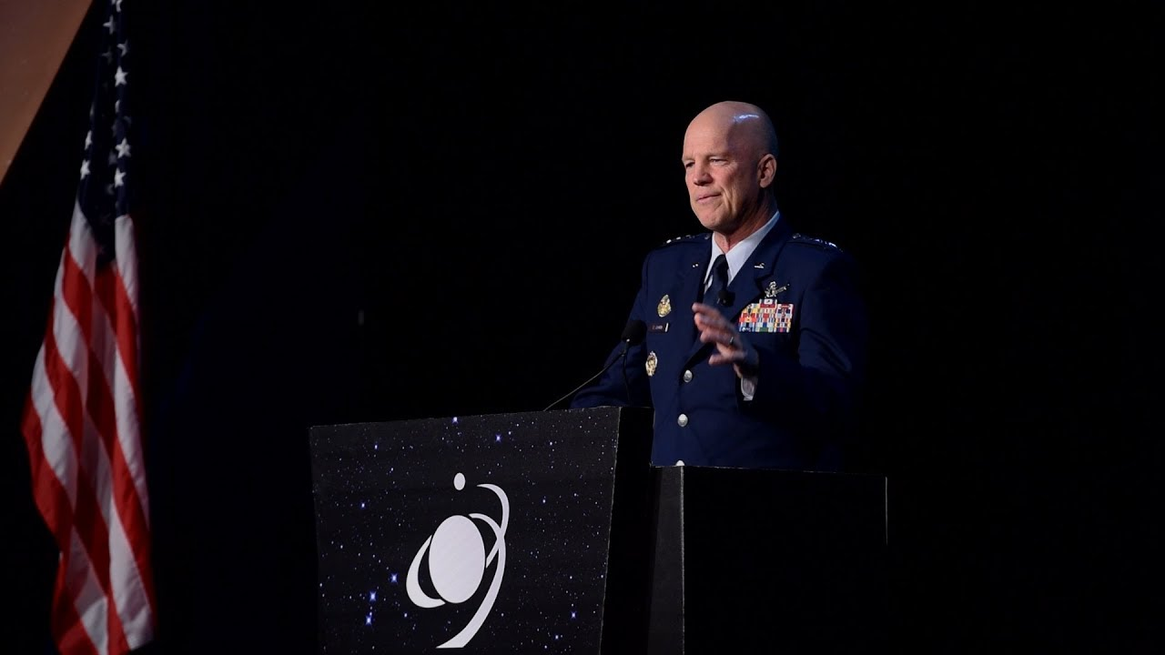 General Jay Raymond, Commander of Air Force Space Command and Joint Force Space Component Commander, highlights space warfighters at the 35th Space Symposium in Colorado Springs, Colorado, April 9, 2019. (U.S. Air Force video by Dave Grim)