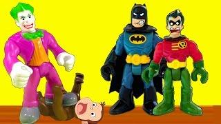 Robin de los jovenes titanes en accion salva a jorge el curioso del joker, video para niños