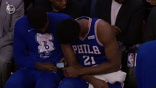 Joel Embiid & Amir Johnson Caught Looking at Phone During Playoff Game