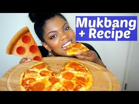 Pepperoni Pizza Mukbang + Recipe | Low Carb Fathead Pizza Recipe