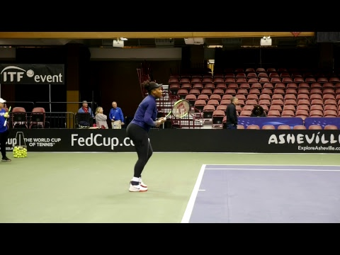 Fed Cup R1 2018: Team USA Tennis Stars Venus & Serena Williams Practice Session