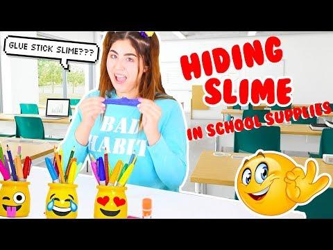 HOW TO SNEAK SLIME IN SCHOOL | Hiding slime in school supplies + GIVEAWAY | Slimeatory #125