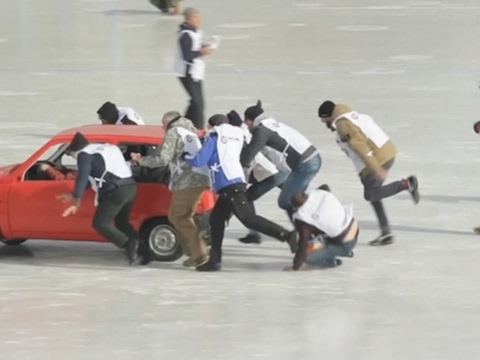 Raw: First-Ever Russian Car Curling Tournament - YouTube