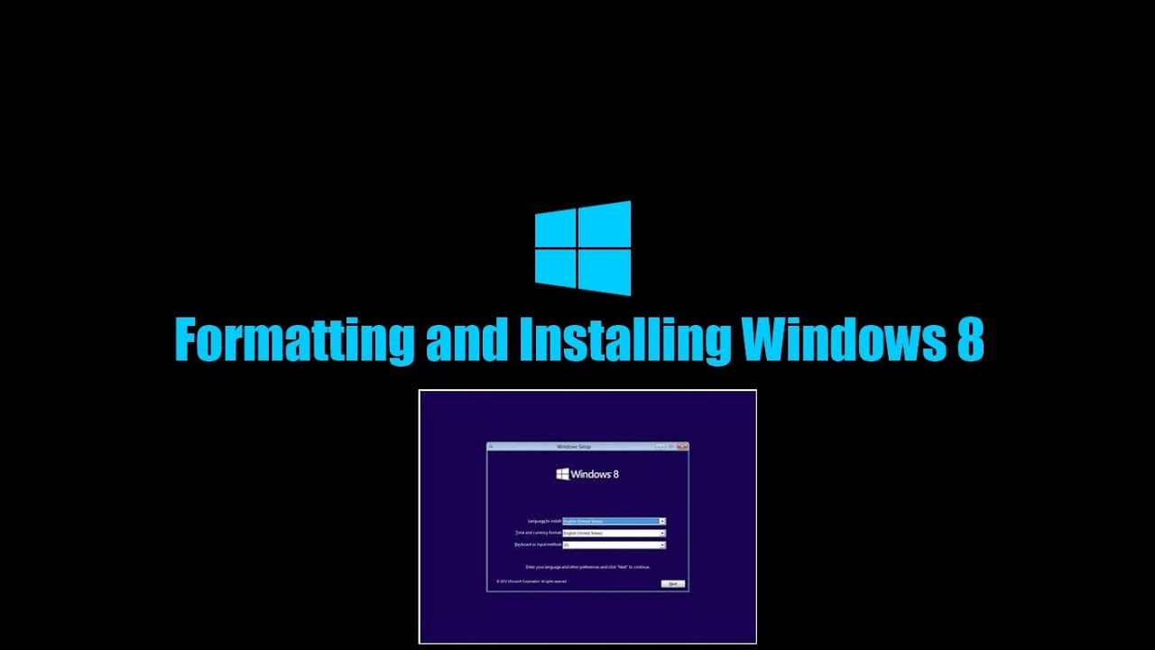 How To Format C Drive Os And Install Windows 8 Youtube