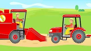 Tractor and Combine Harvester & Agricultural Machinery for Kids | Harvest - Traktor i Kombajn