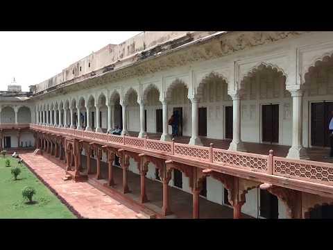 Vintage historical building Agra Fort inside