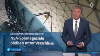 ARD Tagesschau - Verfassungsgericht urteilt: NSA Selektorenliste bleibt geheim   15 11 2016 h264