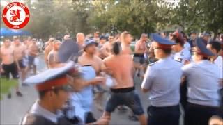 Legia corteo in Kazakhstan + little trouble on the way 21.08.2014 (HD)