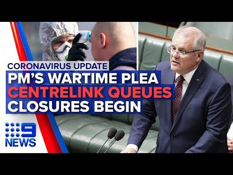 Coronavirus: PM's Wartime Speech, Shutdowns Underway   Nine News Australia