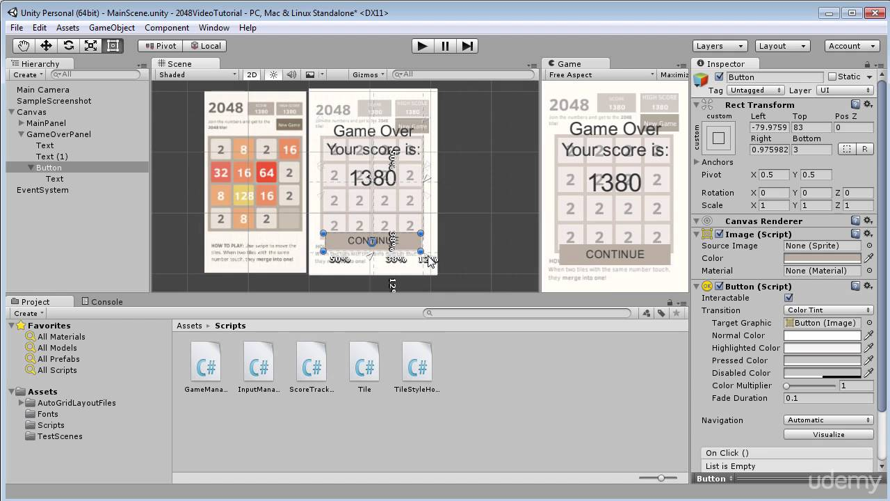 28  Making Game Over Panel - Build 2048 puzzle game in Unity 3D