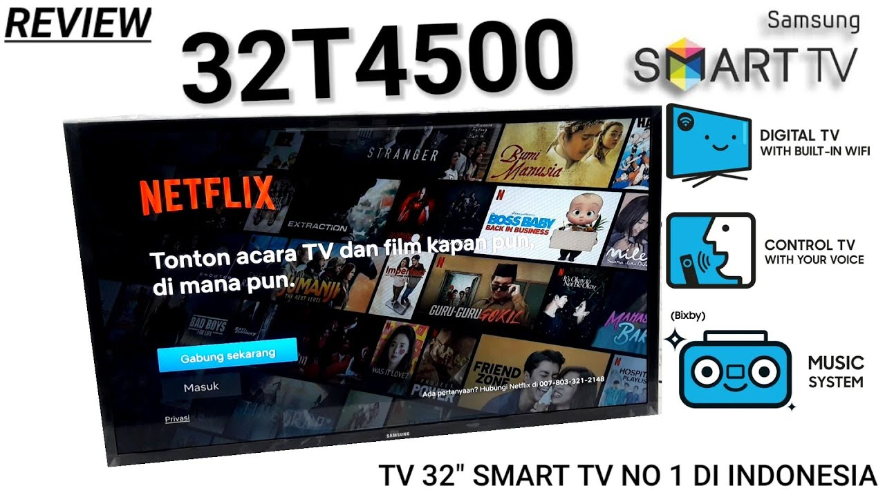 REVIEW SAMSUNG 32T4500 SMART TV Indonesia HD