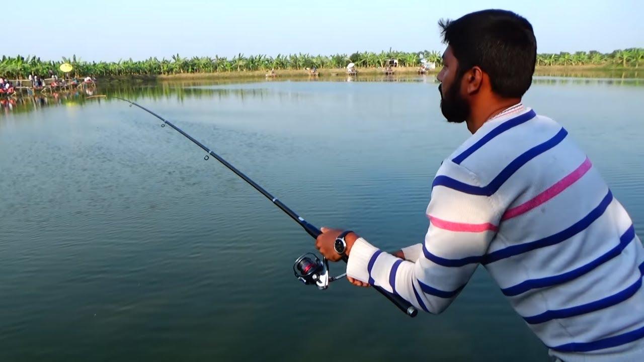 Big Fishing Videos By Rasel Using Reel In Village Pond