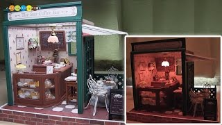 DIY Miniature Dollhouse kit Coffee Bar ドールハウスキット ミニチュアコーヒーバー作り