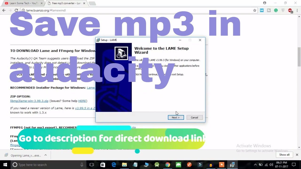 How to save file as mp3 in Audacity | 2018