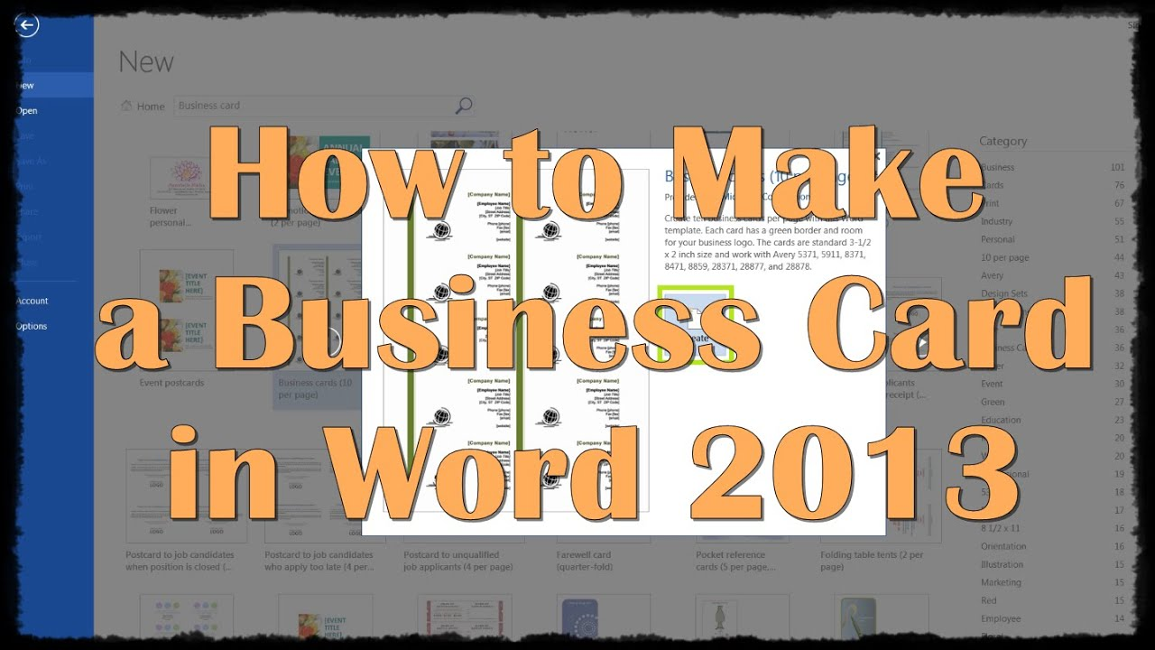 how to make a business card in word 2013 youtube